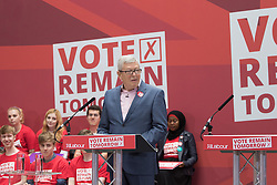 Kings Cross, London, June 22nd 2016. A final rally by members of the Labour Party's Vote Remain team is held in King's Cross, bringing London mayor Sadiq Khan, Welsh first minister Carwyn Jones, Labour In For Britain head Alan Johnson and Scottish leader Kezia Dugdale and Party Leader Jeremy Corbyn in a show of unity as they express the importance of a Remain vote. PICTURED: Labour In For Britain head Alan Johnson