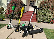 Detailed view o Lime (left), Bolt  and Bird electric scooters, Monday, June 24, 2019, in Los Angeles. The yellow Bolt scooter features footholds located on either side of the riding board, which the company Bolt Mobility says allows for greater balance. Bolt Mobility, was founded in March 2018 by entrepreneurs Kamyar Kaviani and Sarah Haynes, with brand ambassador Usain Bolt. (Kirby Lee via AP)
