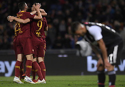 ROME, May 13, 2019  Roma's Edin Dzeko celebrates his goal with his teammates during a Serie A soccer match between Roma and FC Juventus in Rome, Italy, May 12 , 2019. Roma won 2-0. (Credit Image: © Xinhua via ZUMA Wire)