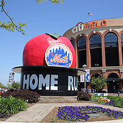 "Citi Field, home of the New York Mets, with the ""Home Run Big Apple' in front of the stadium before the New York Mets V Pittsburgh Pirates Baseball game at Citi Field, Queens, New York. USA. 12th May 2013. Photo Tim Clayton"