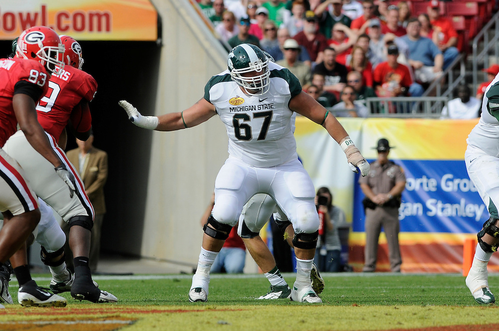 January 2, 2012: Joel Foreman of Michigan State in action during the NCAA football game between the Michigan State Spartans and the Georgia Bulldogs at the 2012 Outback Bowl at Raymond James Stadium in Tampa, Florida. The Spartans defeated the Bulldogs 33-30.