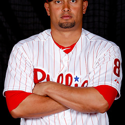 February 22, 2011; Clearwater, FL, USA; Philadelphia Phillies center fielder Shane Victorino (8) poses during photo day at Bright House Networks Field. Mandatory Credit: Derick E. Hingle