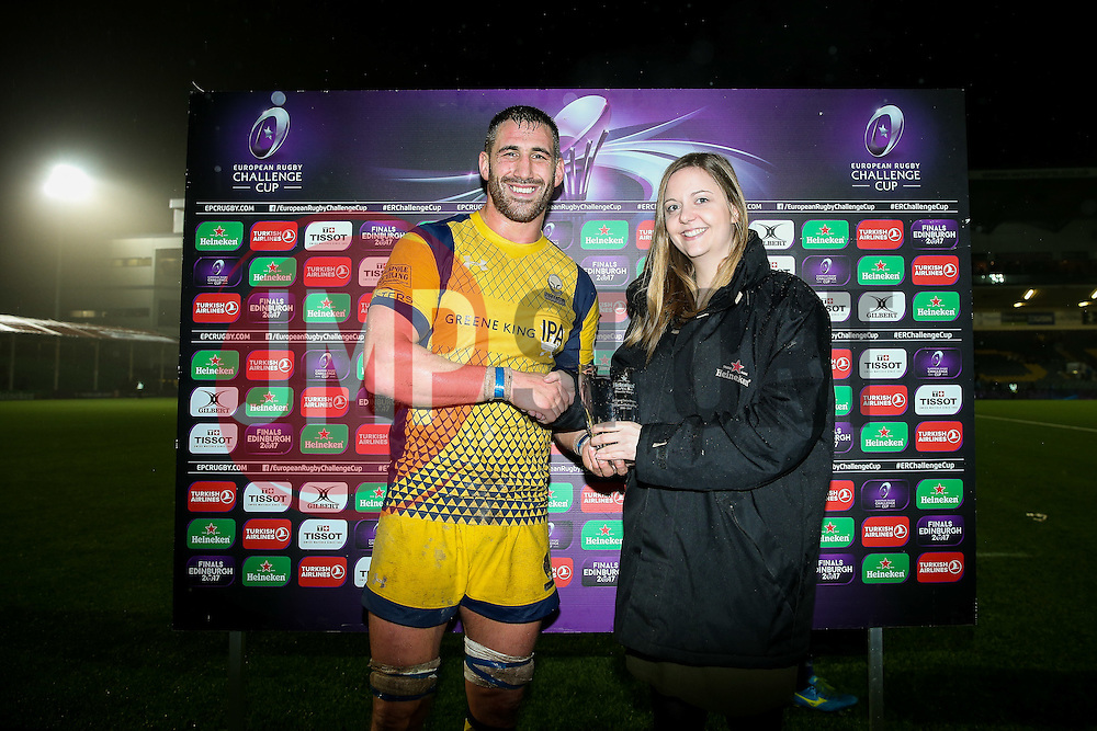 Worcester Warriors man of the match Matt Cox - Rogan Thomson/JMP - 10/12/2016 - RUGBY UNION - Sixways Stadium - Worcester, England - Worcester Warriors v Newport Gwent Dragons - European Rugby Challenge Cup.
