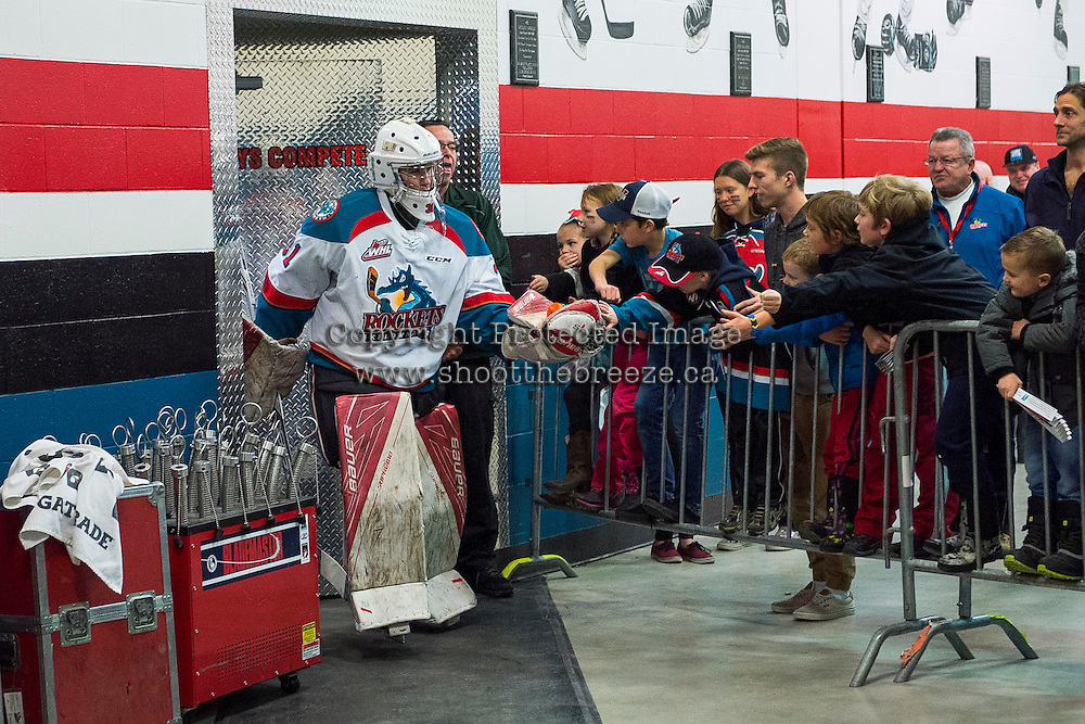 KELOWNA, CANADA - JANUARY 7: Brodan Salmond #31 of the Kelowna Rockets exits the dressing room for the ice against the Kamloops Blazers on January 7, 2017 at Prospera Place in Kelowna, British Columbia, Canada.  (Photo by Marissa Baecker/Shoot the Breeze)  *** Local Caption ***