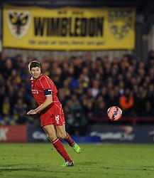 Liverpool's Steven Gerrard - Photo mandatory by-line: Dougie Allward/JMP - Mobile: 07966 386802 - 05/01/2015 - SPORT - football - London - Cherry Red Records Stadium - AFC Wimbledon v Liverpool - FA Cup - Third Round