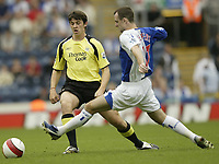 Photo: Aidan Ellis.<br /> Blackburn Rovers v Manchester City. The Barclays Premiership. 17/09/2006.<br /> City's Joey Barton knocks the ball past Rovers Francis Jeffers