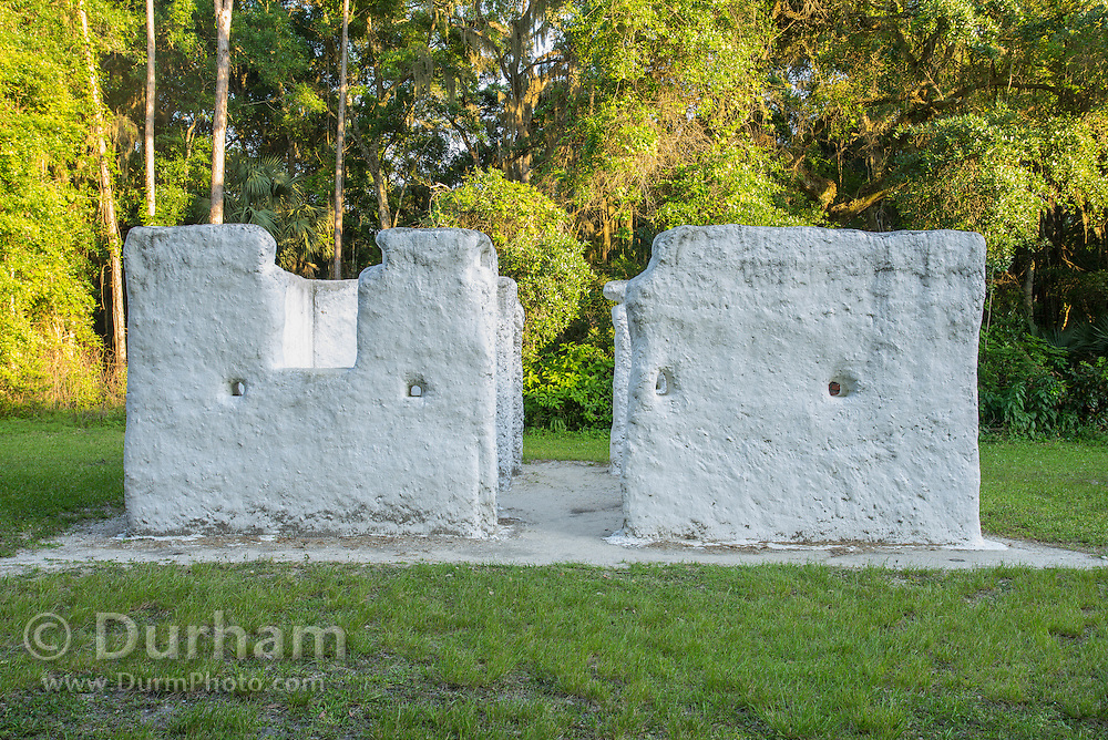Remains of a 200 year old slave cabin from the Kingsley Plantation in the Timucuan Ecological & Historic Preserve, Florida. The cabins are made from Tabby, a mixture of oyster shells, sand, and water.