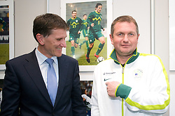 General manager of Hypo bank Anton Romih and Matjaz Kek of Slovenian National Football team during opening of Photo exhibition in Hypo bank, on May 19, 2010 in Ciytpark, BTC, Ljubljana, Slovenia. (Photo by Vid Ponikvar / Sportida)