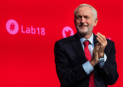 © Licensed to London News Pictures. 24/09/2018. Liverpool, UK. Labour Party Leader Jeremy Corbyn MP on stage at the Labour Party Conference 2018. Photo credit: Rob Pinney/LNP