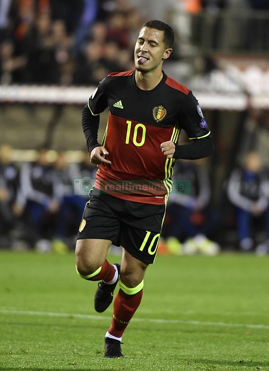 October 10, 2017 - Bruxelles, Belgique - Eden Hazard midfielder of Belgium celebrates with teammates after scoring (Credit Image: © Panoramic via ZUMA Press)