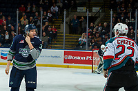 KELOWNA, CANADA - FEBRUARY 23: Mike MacLean #32 of the Seattle Thunderbirds drops the gloves with Braydyn Chizen #22 of the Kelowna Rockets on February 23, 2018 at Prospera Place in Kelowna, British Columbia, Canada.  (Photo by Marissa Baecker/Shoot the Breeze)  *** Local Caption ***