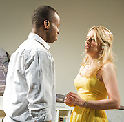 The Girl in the Yellow Dress<br /> by Craig Higginson <br /> at Theatre 503, London, Great Britain <br /> press photocall<br /> 21st March 2012 <br /> <br /> Fiona Button (as Celia)<br /> <br /> Clifford Samuel (as Pierre)<br /> <br /> Photograph by Elliott Franks