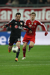 15.03.2014, Allianz Arena, Muenchen, GER, 1. FBL, FC Bayern Muenchen vs Bayer 04 Leverkusen, 25. Runde, im Bild l-r: im Zweikampf, Aktion, mit Gonzalo Castro #27 (Bayer 04 Leverkusen), Toni Kroos #39 (FC Bayern Muenchen) // during the German Bundesliga 25th round match between FC Bayern Munich and Bayer 04 Leverkusen at the Allianz Arena in Muenchen, Germany on 2014/03/16. EXPA Pictures © 2014, PhotoCredit: EXPA/ Eibner-Pressefoto/ Kolbert<br /> <br /> *****ATTENTION - OUT of GER*****