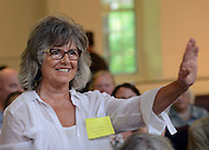 Adrienne Morgado of Wrightstown, Pennsylvania asks a question during a meeting to discuss a push for a ban on fracking at Newtown Friends Meeting House Tuesday July 7, 2015 in Newtown, Pennsylvania. (Photo by William Thomas Cain)