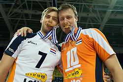 01-07-2012 VOLLEYBAL: EUROPEAN LEAGUE PRIJSUITREIKING: ANKARA<br /> Nederland wint de European League 2012 / Gijs Jorna en Jeroen Rauwerdink<br /> ©2012-FotoHoogendoorn.nl/Conny Kurth