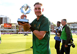 Stuart Broad of Nottinghamshire celebrates with the Royal London One-Day Cup Trophy after his sides win over Surrey - Mandatory by-line: Robbie Stephenson/JMP - 01/07/2017 - CRICKET - Lord's Cricket Ground - London, United Kingdom - Nottinghamshire v Surrey - Royal London One-Day Cup Final 2017