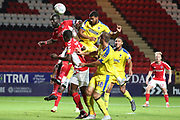 AFC Wimbledon striker Jake Jervis (10) with a header on goal during the EFL Trophy match between Charlton Athletic and AFC Wimbledon at The Valley, London, England on 4 September 2018.