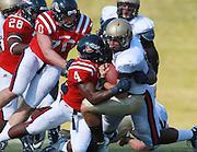 Samford linebacker Justin Shade  sacks Wofford James Lawson at Seibert Stadium in Homewood, Ala., Saturday, Oct 13, 2012. Samford defeats Wofford 24-17 in Overtime. (Marvin Gentry)