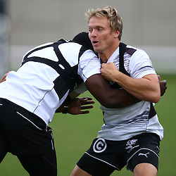 DURBAN, SOUTH AFRICA, 8 ,MARCH, 2016 - Lwazi Mvovo with Joe Pietersen during The Cell C Sharks training session  at Growthpoint Kings Park in Durban, South Africa. (Photo by Steve Haag)<br /> <br /> images for social media must have consent from Steve Haag
