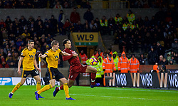 WOLVERHAMPTON, ENGLAND - Friday, December 21, 2018: Liverpool's Virgil van Dijk scores the second goal during the FA Premier League match between Wolverhampton Wanderers FC and Liverpool FC at Molineux Stadium. Liverpool won 2-0. (Pic by David Rawcliffe/Propaganda)