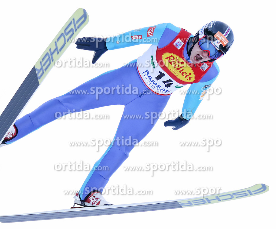 17.12.2016, Nordische Arena, Ramsau, AUT, FIS Weltcup Nordische Kombination, Skisprung, im Bild Laurent Muhlethaler (FRA) // Laurent Muhlethaler of France during Skijumping Competition of FIS Nordic Combined World Cup, at the Nordic Arena in Ramsau, Austria on 2016/12/17. EXPA Pictures © 2016, PhotoCredit: EXPA/ Martin Huber