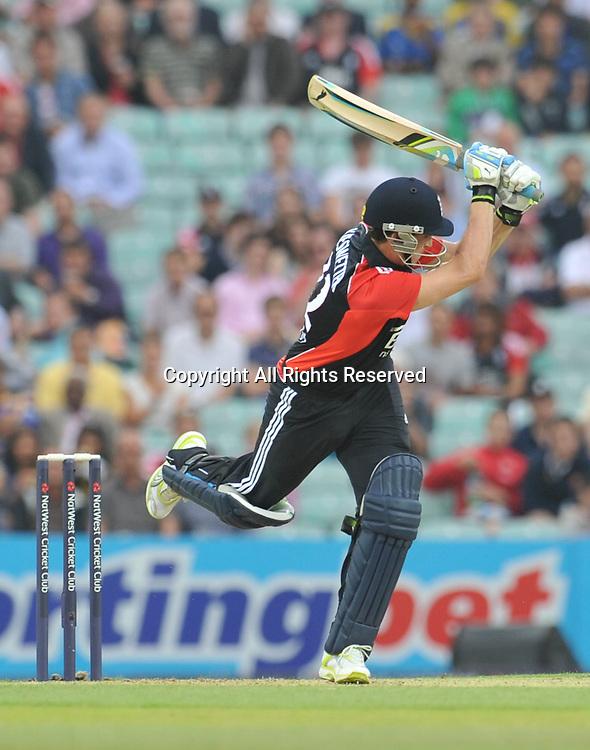 28.06.2011 One Day International Cricket from the Kia Oval in London. England v Sri Lanka. England opener Kieswetter plays a leg side shot for 4.