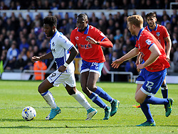 Ellis Harrison of Bristol Rovers is challenged by Ousmane Fane and Chris Taylor of Oldham Athletic - Mandatory by-line: Neil Brookman/JMP - 17/04/2017 - FOOTBALL - Memorial Stadium - Bristol, England - Bristol Rovers v Oldham Athletic - Sky Bet League One