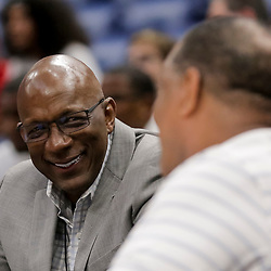 Aug 25, 2019; New Orleans, LA, USA; Big Three commissioner Clyde Drexler talks to New Orleans Pelicans head coach Alvin Gentry during the Big Three Playoffs at the Smoothie King Center. Mandatory Credit: Derick E. Hingle-USA TODAY Sports