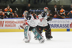 02.12.2016, Merkur Eisarena, Graz, AUT, EBEL, Moser Medical Graz 99ers vs HC TWK Innsbruck Die Haie, 25. Runde, im Bild Andy Chiodo (#30, HC TWK Innsbruck) und Manuel Litterbach (#34, HC TWK Innsbruck) beim Tormanntausch // during the Erste Bank Icehockey League 25th Round match between Moser Medical Graz 99ers and HC TWK Innsbruck at the Merkur Ice Arena, Graz, Austria on 2016/12/02, EXPA Pictures © 2016, PhotoCredit: EXPA/ Erwin Scheriau