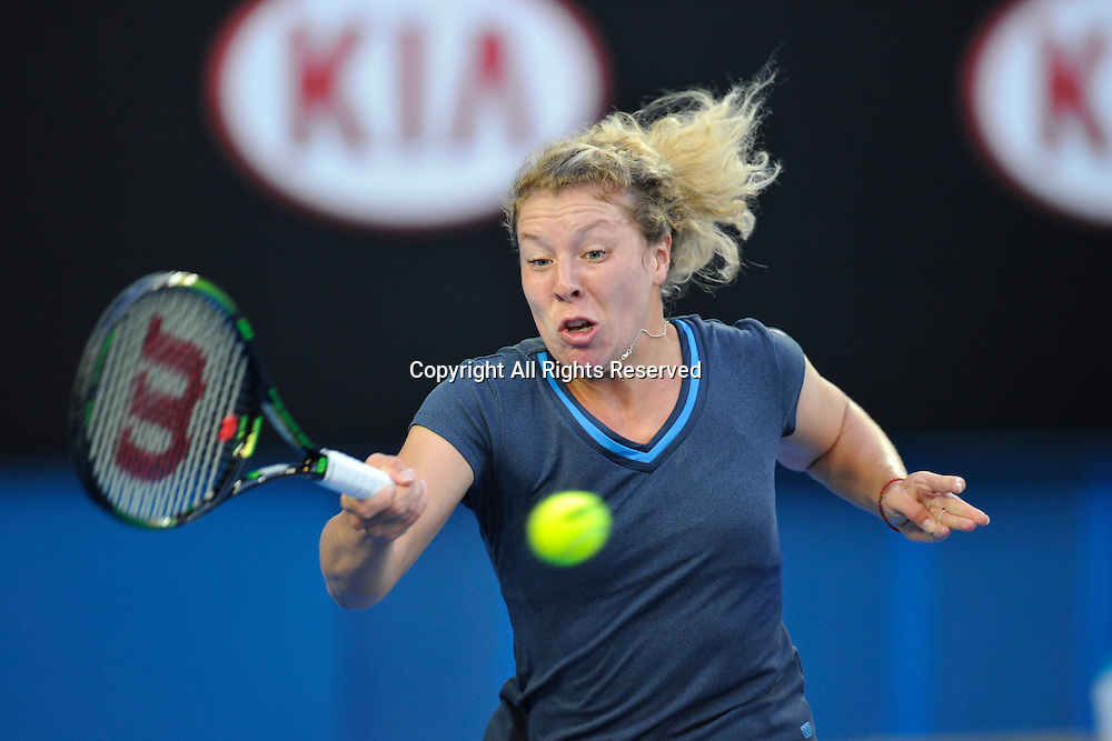 19.01.2015 Australian Open Tennis from Melbourne Park. Anna-Lena Friedsam of Germany hits a return shot in her match against Eugenie Bouchard of Canada on day one of the 2015 Australian Open at Melbourne Park, Melbourne, Australia.