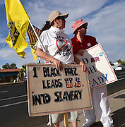 """Tucson Tea Party Coalition member, Rosa Cannoli, (left), along with about 30 others, protests what the coalition says is """"the unholy alliance of Barack H. Obama, Jan Brewer, special interests, and turncoat Republicans,"""" regarding """"OBrewercare/Obamacare/Medicaid Expansion in Arizona"""" on June 21, 2013 in Tucson, Arizona, USA.  Cannoli says that she is a legal immigrant from South America who has lived in the US """"for many years."""""""