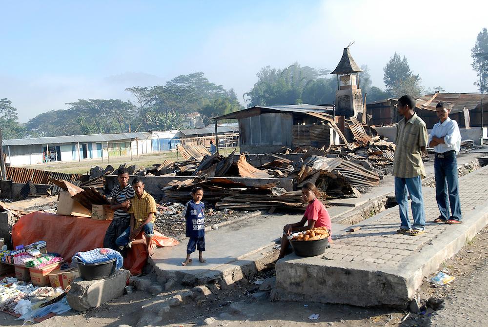 Signs of a recent arson attack Gleno Markets.  June 30 2007 Timor-Leste. Ermera District