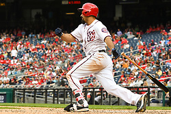 May 6, 2018 - Washington, DC, U.S. - WASHINGTON, DC - MAY 06:  Washington Nationals third baseman Anthony Rendon (6) hits an RBI single in the eighth inning during the game between the Philadelphia Phillies  and the Washington Nationals on May 6, 2018, at Nationals Park, in Washington D.C.  The Washington Nationals defeated the Philadelphia Phillies, 5-4.  (Photo by Mark Goldman/Icon Sportswire) (Credit Image: © Mark Goldman/Icon SMI via ZUMA Press)