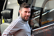 Ben Foster (26) of Watford gets off the team bus on arrival ahead of the Premier League match between Bournemouth and Watford at the Vitality Stadium, Bournemouth, England on 12 January 2020.