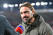 Norwich City manager Daniel Farke being interviewed by Sky Sports before the EFL Cup 4th round match between Bournemouth and Norwich City at the Vitality Stadium, Bournemouth, England on 30 October 2018.