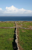 Stone walls on Inis Mor the Aran Islands, Connemara, County Galway, Ireland.