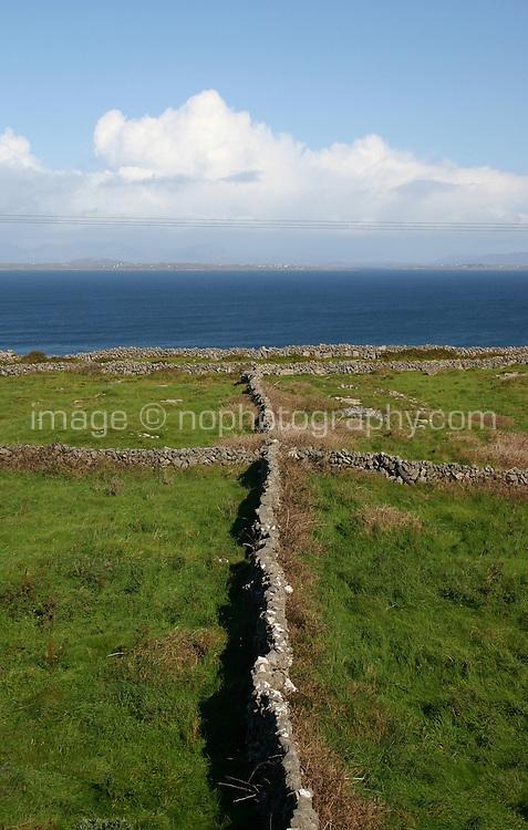 Stone walls on Inis Mor the Aran Islands, Connemara, County Galway, Ireland.