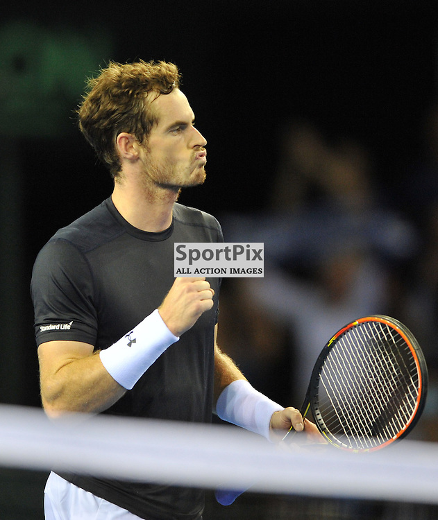 Andy Murray wins his match against Thanasi Kokkinakis during the Great Britain v Australia, Semi Finals,  Aegeon Davis Cup by BNP Paribas, Friday 18 September 2015 (c) Angie Isac | SportPix.org.uk