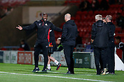 Darren Moore of Doncaster Rovers protests to the fourth official during the EFL Sky Bet League 1 match between Doncaster Rovers and Blackpool at the Keepmoat Stadium, Doncaster, England on 17 September 2019.