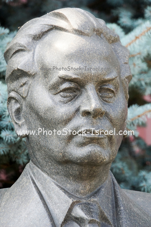 Bust of Konstantin Chernenko (24 September 1911 – 10 March 1985) at the Kremlin Wall Necropolis at the Red Square in Moscow, Russia