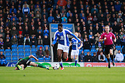 Chesterfield's Ricky German fouls Scunthorpe's Levi Sutton during the EFL Sky Bet League 1 match between Chesterfield and Scunthorpe United at the b2net stadium, Chesterfield, England on 22 October 2016. Photo by Richard Holmes.