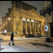 Nella foto via Lagrange angolo via Maria Vittoria Chiasa di san Filippo.. Turin under snow, Torino sotto la neve.
