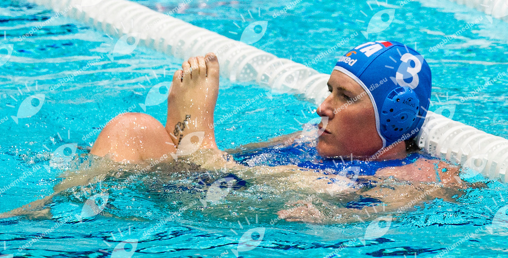 Eindhoven , Netherlands (NED) 16 - 29 January 2012.LEN European  Water Polo Championships 2012.Day 03 - Women.GRE (White) - ITA (Blue)..ITA.3 CASANOVA Elisa ..Photo G.Scala/Deepbluemedia.eu