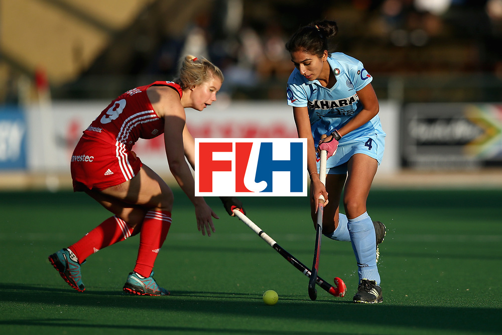JOHANNESBURG, SOUTH AFRICA - JULY 18: Monika of India and Sophie Bray of England battle for possession during the Quarter Final match between England and India during the FIH Hockey World League - Women's Semi Finals on July 18, 2017 in Johannesburg, South Africa.  (Photo by Jan Kruger/Getty Images for FIH)