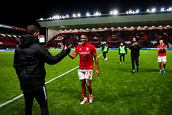 Man of the Match Niclas Eliasson of Bristol City celebrates after Bristol City win 5-2 - Rogan/JMP - 30/11/2019 - Ashton Gate Stadium - Bristol, England - Bristol City v Huddersfield Town - Sky Bet Championship.