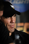 """MANCHESTER, ENGLAND, NOVEMBER 14, 2009: Randy Couture is pictured during the post-fight press conference for """"UFC 105: Couture vs. Vera"""" inside the MEN Arena in Manchester, England"""