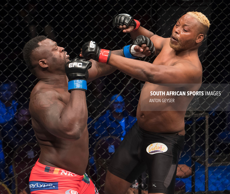 JOHANNESBURG, SOUTH AFRICA - MAY 13: (L-R) Nerick Simoes and Mpatha Mikixi in action during EFC 59 Fight Night at Carnival City on May 13, 2017 in Johannesburg, South Africa. (Photo by Anton Geyser/EFC Worldwide/Gallo Images)