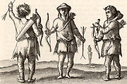 Samoyed archers in clothes made of animal skins. Engraving after an illustration in 'Voyagie ? van by Noorden omlanges Noorwegen de Noortcaep,  Laplant ?' by Jan Huyghen van Linschoten (Franeker, 1601).