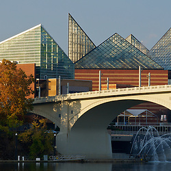 The Tennessee Aquarium building is a centerpiece for Chattanooga's riverfront.