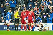 Sam Cosgrove (#16) of Aberdeen FC is shown a red card during the Ladbrokes Scottish Premiership match between Rangers and Aberdeen at Ibrox, Glasgow, Scotland on 5 December 2018.
